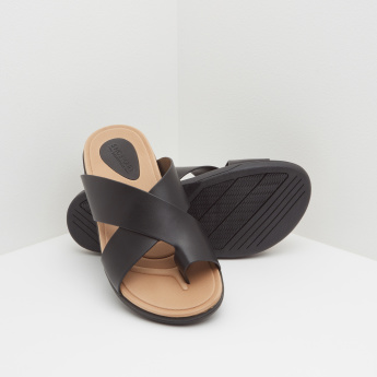 Cross Over Strap Toe-Ring Sandals with Slip-On Closure