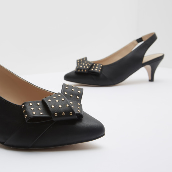 Formal Shoes with Embellished Bow and Slingback Closure