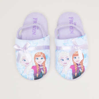 Frozen Printed Sandals with Backstrap and Bow Applique