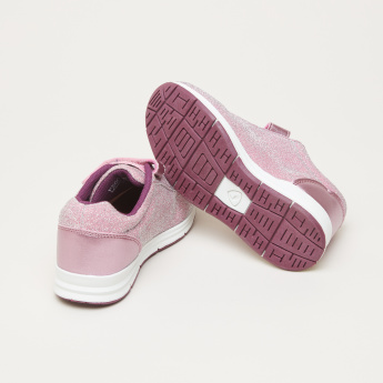 Princess Textured Sneakers with Hook and Loop Closure