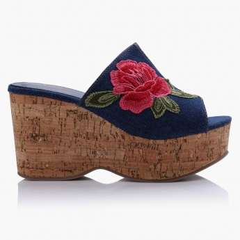 Missy Embroidered High Heel Wedged
