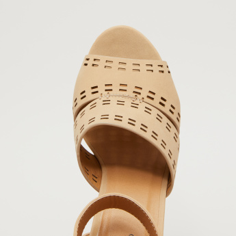 Laser Cut Detail Ankle Strap Sandals