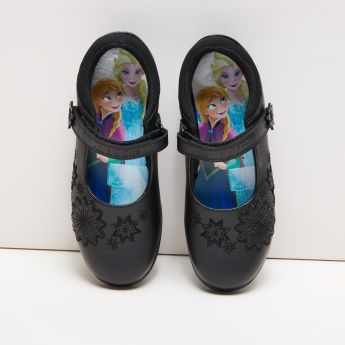 Frozen Embroidered Mary Jane Shoes with Hook and Loop Closure
