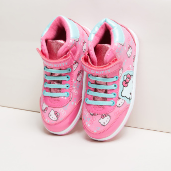 Hello Kitty Printed Shoes with Lace and Applique Detail