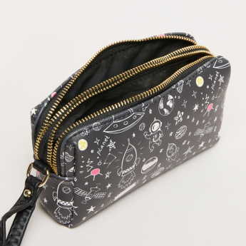 Missy Printed Pouch with Dual Zip Closures