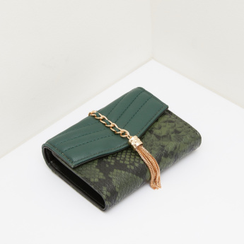 Celeste Animal Printed Tri-Fold Wallet with Stitch Detail