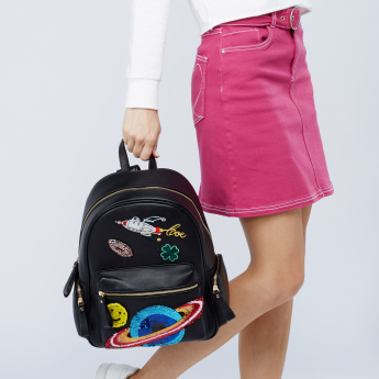 Missy Sequin Detail Backpack with Zip Closure and Adjustable Straps