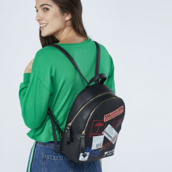 Missy Printed Backpack with Top Handle