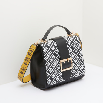 Missy Satchel Bag with Printed Flap