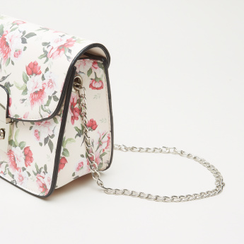 Missy Floral Printed Satchel Bag with Metallic Chain