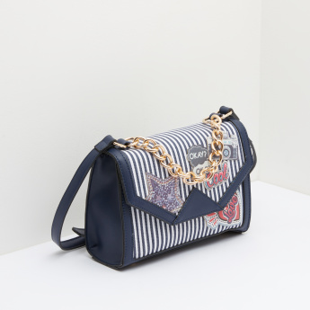 Missy Satchel Bag with Stripes and Applique Detail