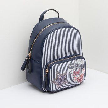 Missy Applique Detail Backpack with Stripes