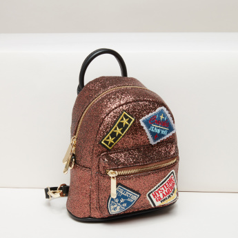 Missy Glitter Backpack with Zip Closure and Applique Detail