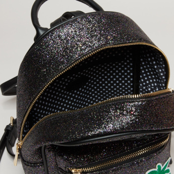 Missy Glitter Backpack with Zip Closure and Embroidered Applique