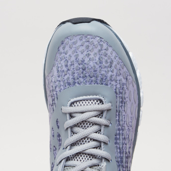 Printed Lace-Up Walking Shoes with Pull Tab