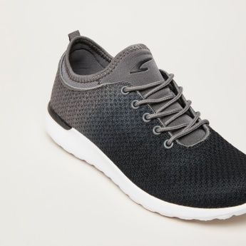 Textured Dual Tone Lace-Up Walking Shoes