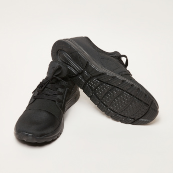 Lace-Up Walking Shoes with Textured Toe Cap