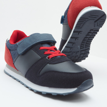 Colourblock Panelled Sneakers with Hook and Loop Closure