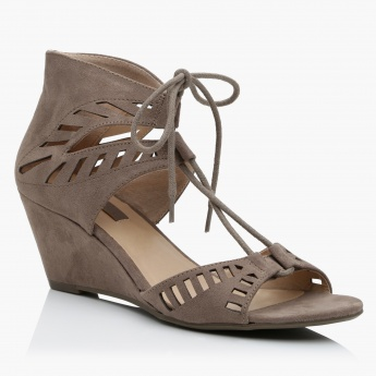 Paprika D'orsay Wedges with Tie-Up on the Front