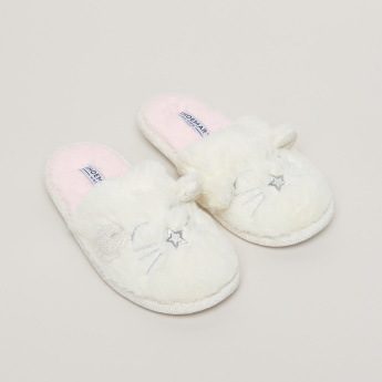 Plush Slides with Embroidery
