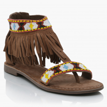 Paprika  Embellished Sandals with Fringes and Zip Closure
