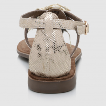 Paprika Embellished Sandals with Buckle Closure