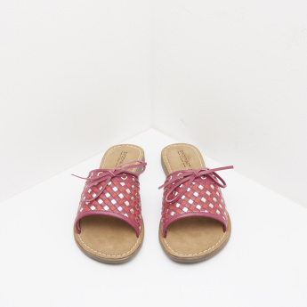 Textured Slide Sandals with Tie-Knot Accent