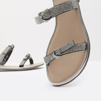 Embellished Strappy Sandals with Slip-On Closure