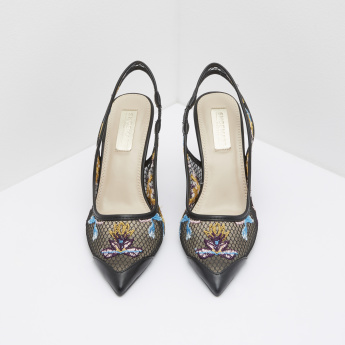 Mesh Slingback Shoes with Embroidery