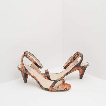 ELLE Animal Print Ankle Strap Heels with Buckle Closure