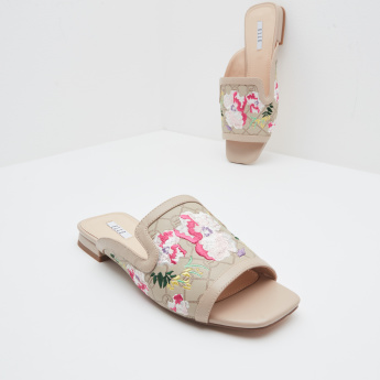 ELLE Embroidered Slides with Slip-On Closure