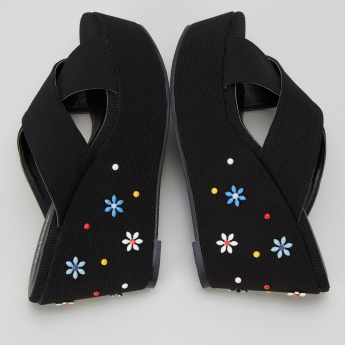 Missy Embellished Platform Heel Slides with Cross Strap