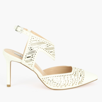 Elle Laser Cut Detail Shoes with Ankle Strap