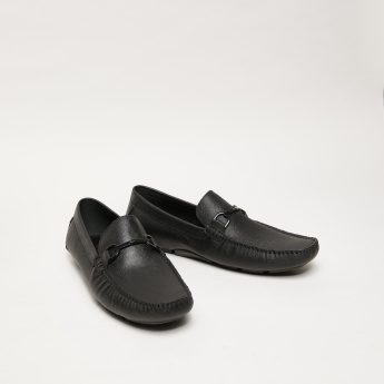 Textured Moccassins with Applique Detail