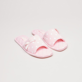 Polka Dot Printed Indoor Slides with Bow Detail