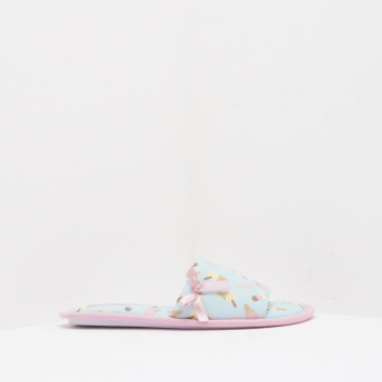 Printed Slip-On Slides with Bow Accent