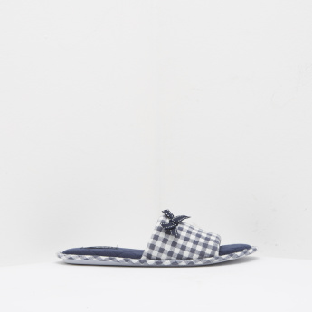 Checked Slip-On Slides with Bow Accent