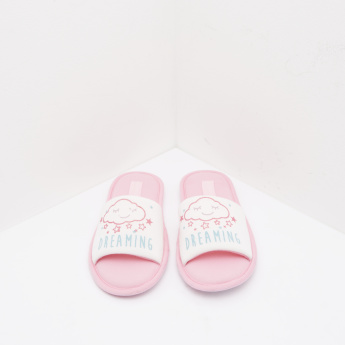 Printed Slippers with Slip-On Closure