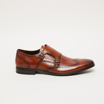 Laser Cut Detail Monk Strap Shoes with Pin Buckle Closure