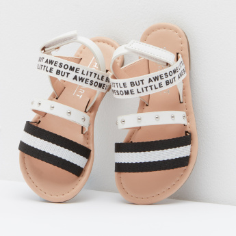 Striped Ankle Strap Sandals with Hook and Loop Closure