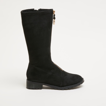 Textured Boots with Zip Closure