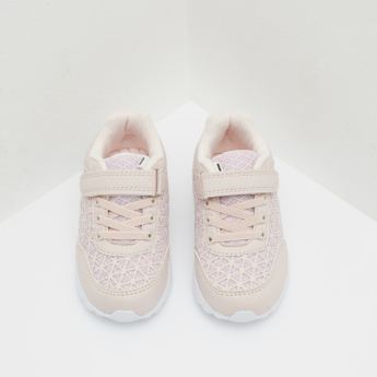 Mesh Sneakers with Hook and Loop Closure and Lighting Detail