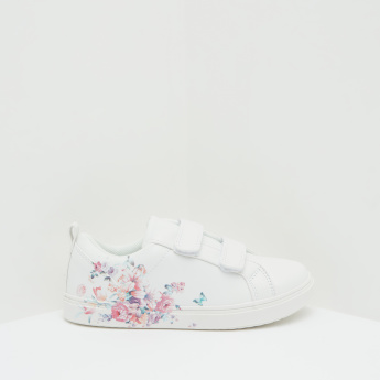Floral Print Low Ankle Sneakers with Hook and Loop Closure
