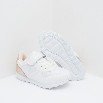 Perforated Detail Sneakers with Hook and Loop Closure