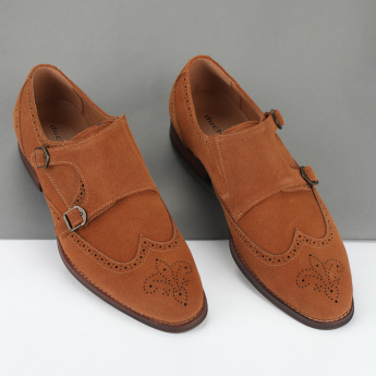 Duchini Monk Strap Shoes with Laser Cut Detail
