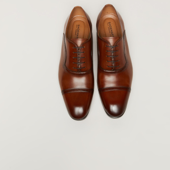 Lace-Up Oxford Shoes with Perforated Pattern