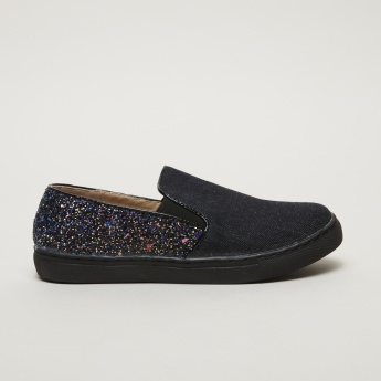Little Missy Slip-On Shoes with Rhinestones Detail