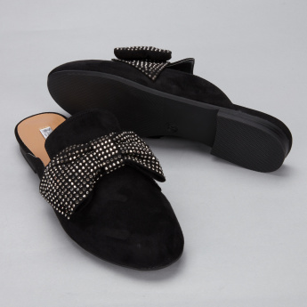 Paprika Studded Slides with Bow Detail
