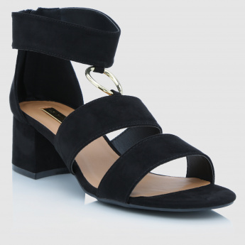 Paprika Block Heels Sandals with Zip Closure