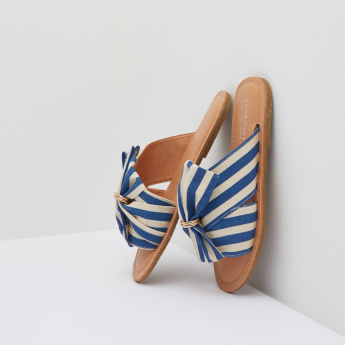 Striped Slides with Bow Detail